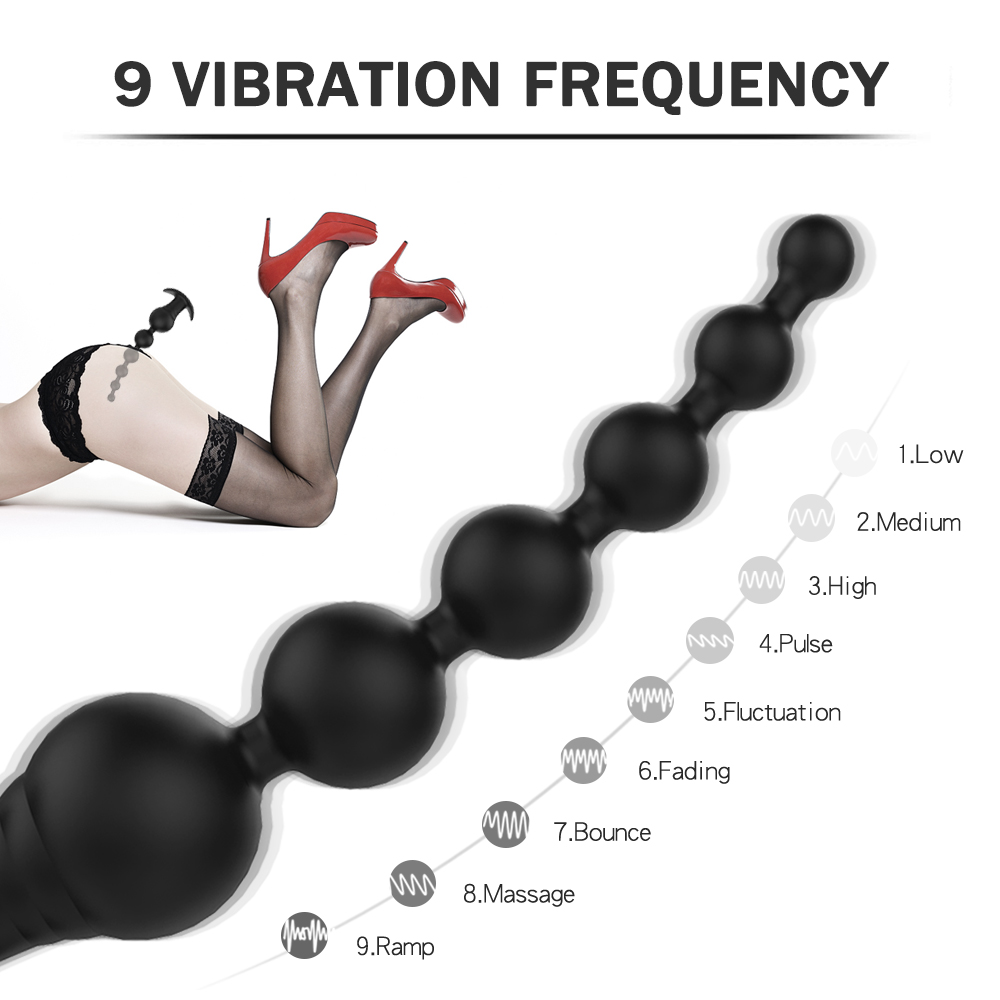 9 Vibration Modes Rechargeable Silicone Vibrating Anal Beads Butt Plug Vibrator